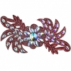 Motif Glitter Leaves with stones 28x13cm Red Crystal Aurora Borealis